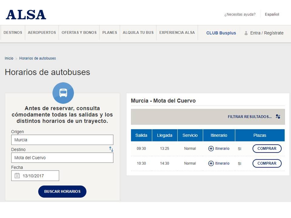BUS MURCIA MOTA DEL CUERVO